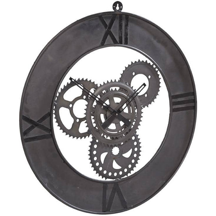 Factory Industrial Style Up Cycled Metal Large Clock - Simply Utopia