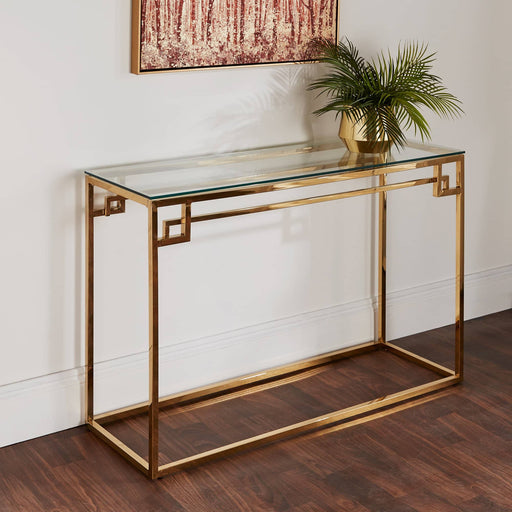 Cesar Gold Console Table With Glass Top - Simply Utopia