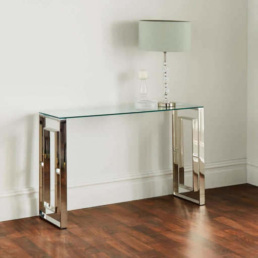 Milano Plated Console Table With A Clear Tempered Glass Top - Simply Utopia