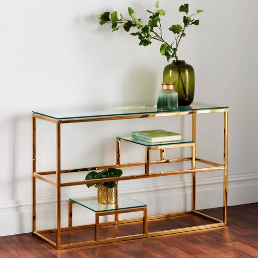 Gold Display Console Table With Clear Tempered Glass Top - Simply Utopia