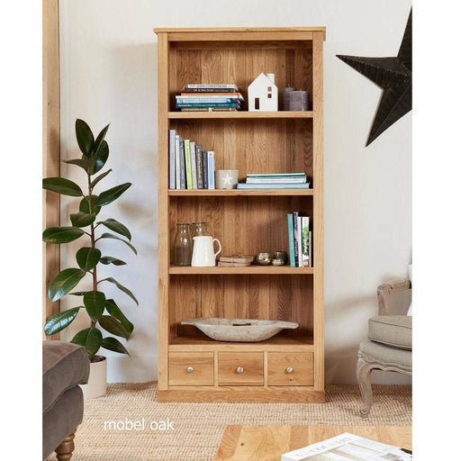 Mobel Oak Large 3 Drawer Bookcase - Simply Utopia