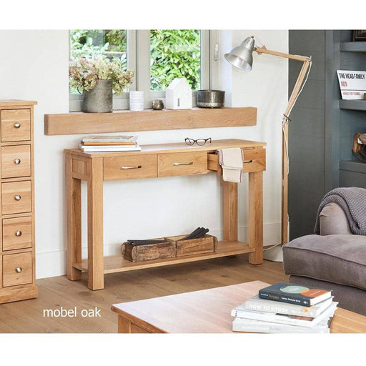 Mobel Solid Oak 3 Drawer Console Table - Simply Utopia