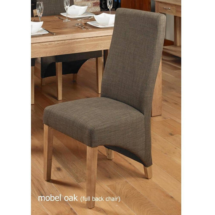 Oak Full Back Upholstered Dining Chair - Hazelnut (Pack of Two) - Simply Utopia