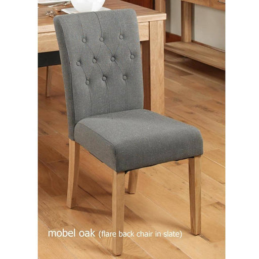Oak Flare Back Upholstered Dining Chair - Slate (Pack of Two) - Simply Utopia