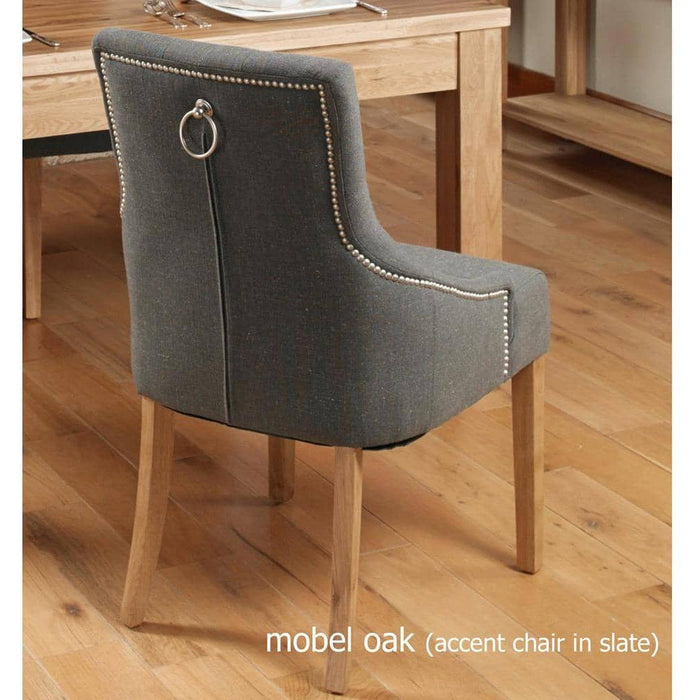 Oak Accent Upholstered Dining Chair - Slate (Pack Of Two) - Simply Utopia