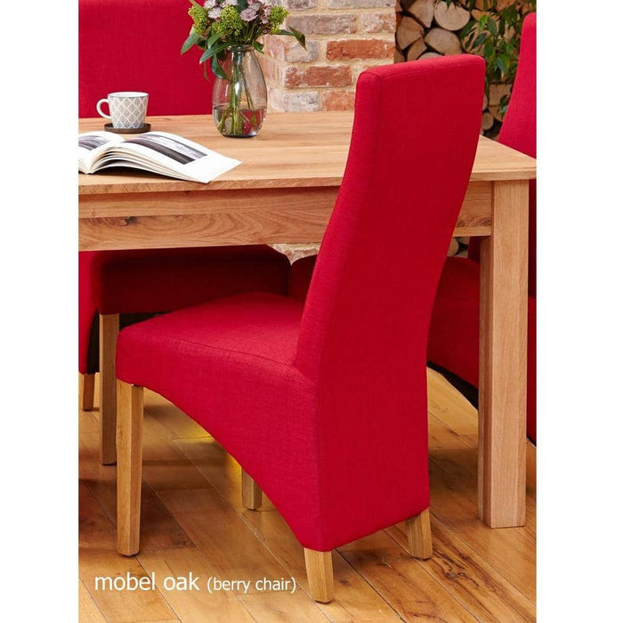 Oak Full Back Upholstered Dining Chair - Berry (Pack of Two) - Simply Utopia