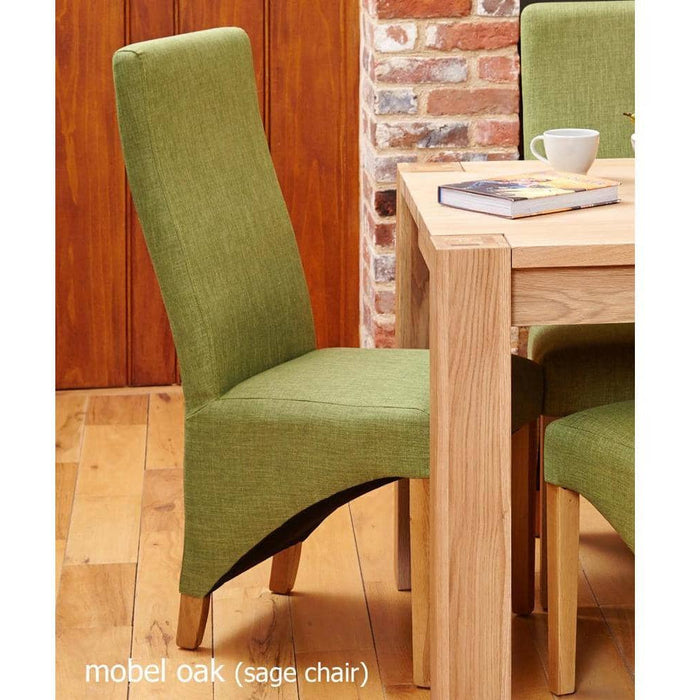 Oak Full Back Upholstered Dining Chair - Sage (Pack of Two) - Simply Utopia