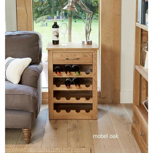 Mobel Solid Oak 1 Drawer Wine Rack / Lamp Table - Simply Utopia