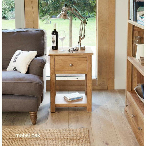 Mobel Oak One Drawer Lamp Table - Simply Utopia