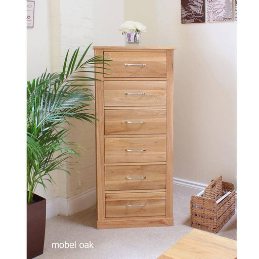 Mobel Oak Tallboy (6 Drawer) - Simply Utopia
