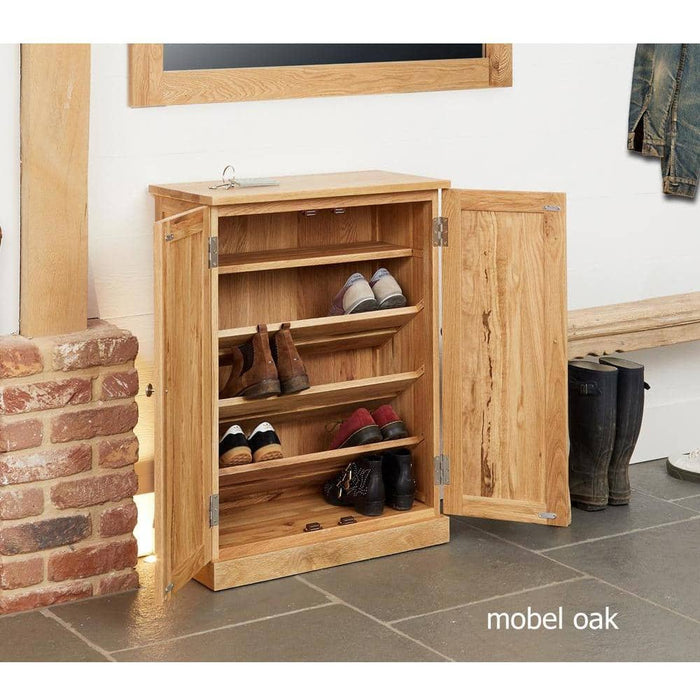 Mobel Oak Shoe Cupboard - Simply Utopia