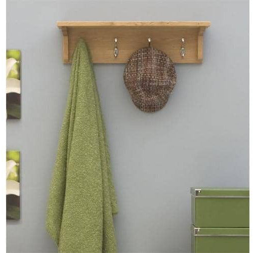 Mobel Solid Oak Wall Mounted Coat Rack With Shelf - Simply Utopia