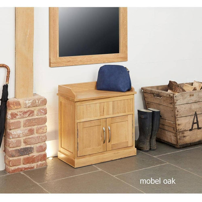 Mobel Oak Shoe Bench with Hidden Storage - Simply Utopia
