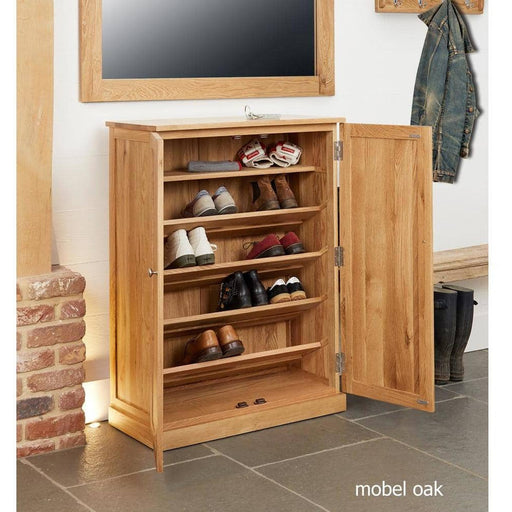Mobel Oak Large Shoe Cupboard - Simply Utopia