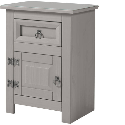Corona Compact 1 door, 1 drawer bedside cabinet with glas top - Simply Utopia