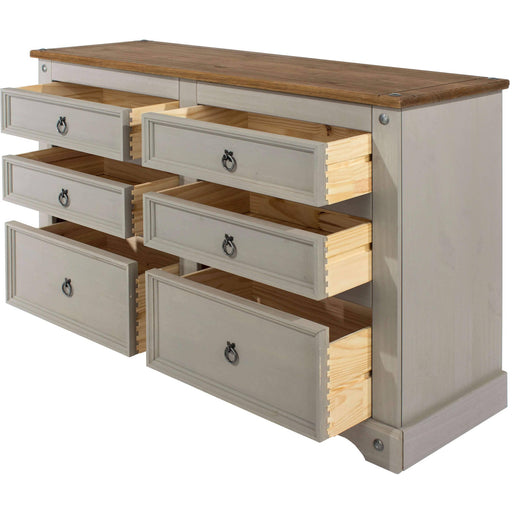 Corona Grey 3+3 drawer wide chest - Simply Utopia
