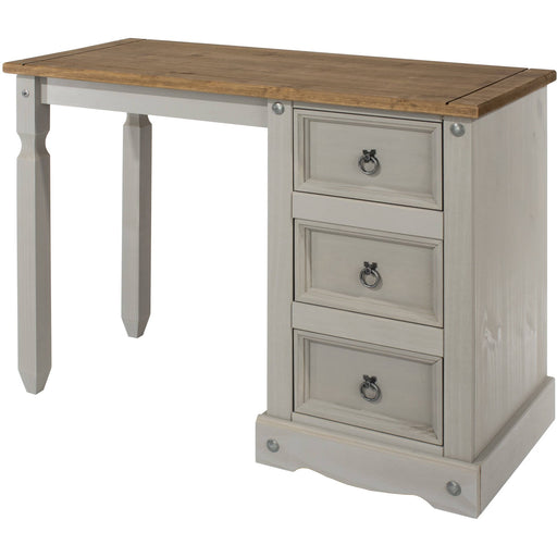 Corona Grey single pedestal dressing table - Simply Utopia