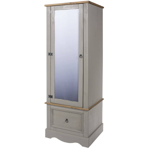 Corona Grey armoire with mirrored door - Simply Utopia
