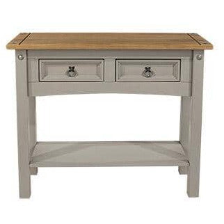 Corona Grey 2 drawer hall table with shelf (non dovetail drawer) - Simply Utopia
