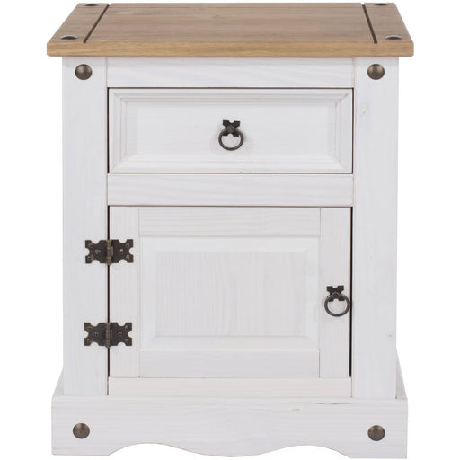 Corona White 1 door, 1 drawer bedside cabinet - Simply Utopia
