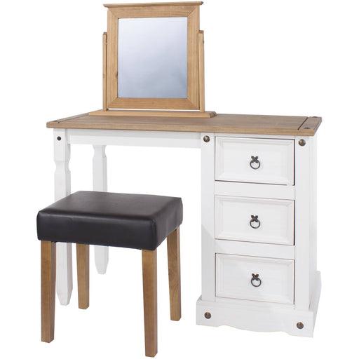 Corona White single pedestal dressing table - Simply Utopia