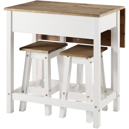 Corona White breakfast drop leaf table & 2 stools SET - Simply Utopia