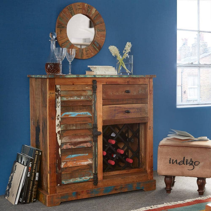 Coastal Wine Rack Sideboard With 2 Drawers And 1 Cupboard - Simply Utopia