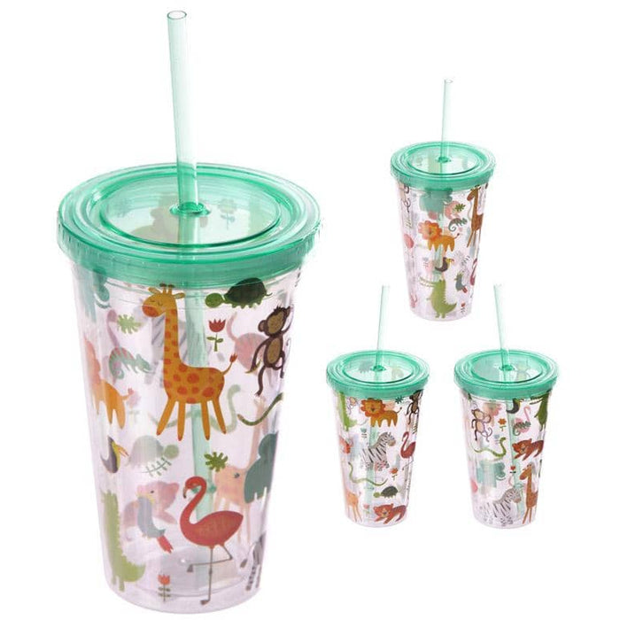 Funky Zoo Animals Double Wall Lidded Cup and Straw - Simply Utopia