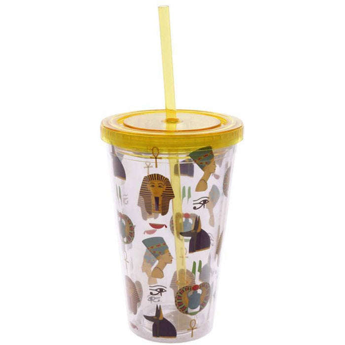Funky Egyptian Double Walled Cup with Lid and Straw - Simply Utopia