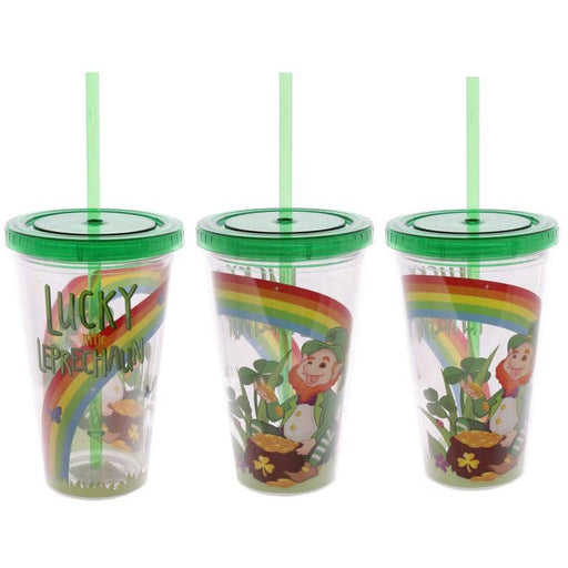 Funky Leprechaun Double Walled Cup with Lid and Straw - Simply Utopia