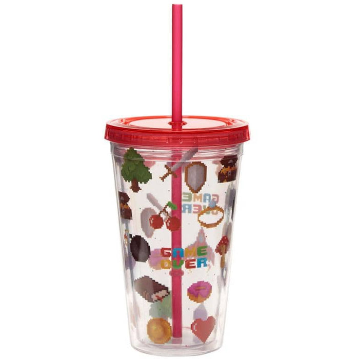 Funky Game Over Double Walled Cup with Lid and Straw - Simply Utopia