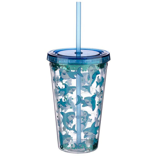 Fun Shark Design Glitter Double Walled Cup with Lid and Straw - Simply Utopia
