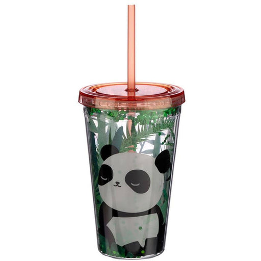 Fun Panda Design Glitter Double Walled Cup with Lid and Straw - Simply Utopia