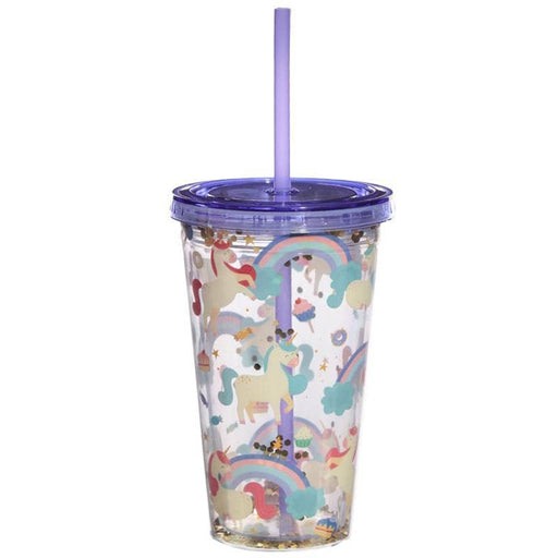 Fun Unicorn Design Glitter Double Walled Cup with Lid and Straw - Simply Utopia