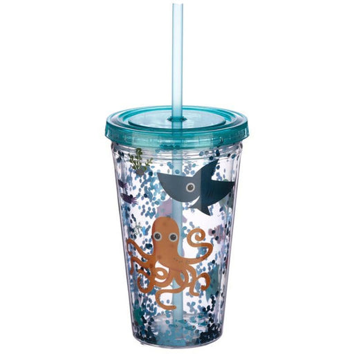 Cute Sea Creatures Double Walled Cup with Lid and Straw - Simply Utopia
