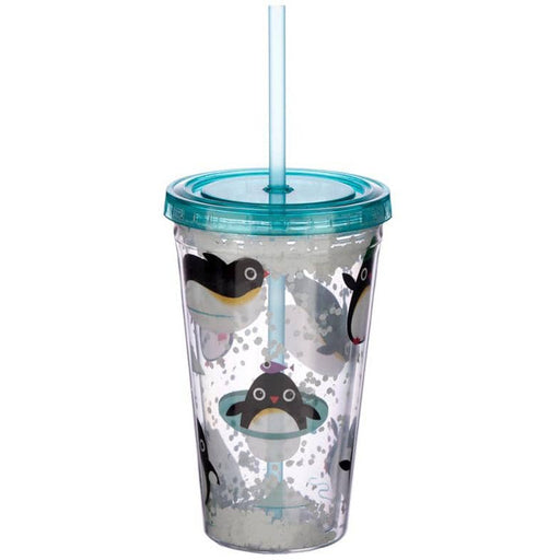 Cute Penguins Double Walled Cup with Lid and Straw - Simply Utopia