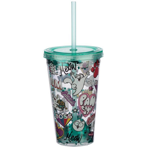 Simon's Cat Pawsome Design Double Walled Cup with Lid and Straw - Simply Utopia