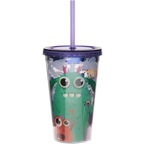 Monsters Monstarz Double Walled Cup with Lid and Straw - Simply Utopia