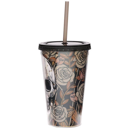 Skulls and Roses Double Walled Cup with Lid and Straw - Simply Utopia