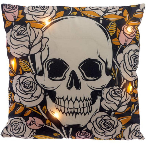 Decorative LED Cushion - Skulls and Roses - Simply Utopia