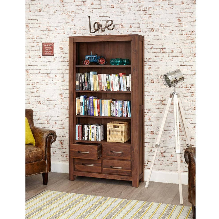 Mayan Walnut Large 4 Drawer Bookcase - Simply Utopia