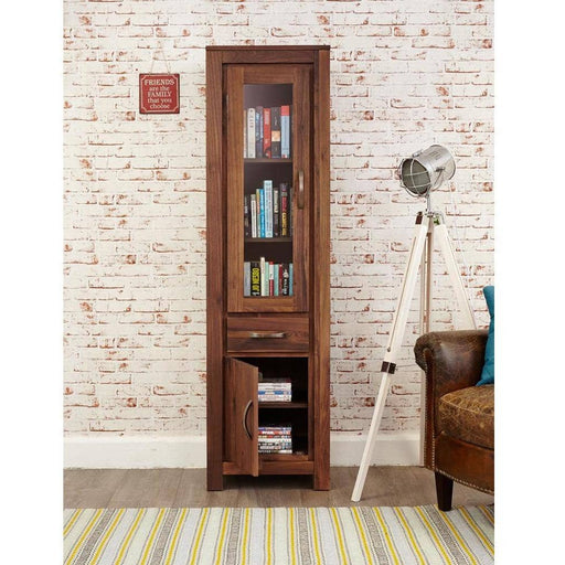 Mayan Walnut Narrow Glazed Bookcase - Simply Utopia