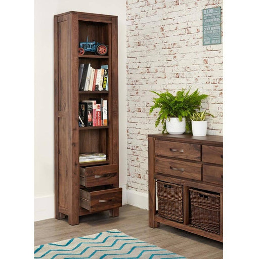 Mayan Walnut Narrow Bookcase - Simply Utopia