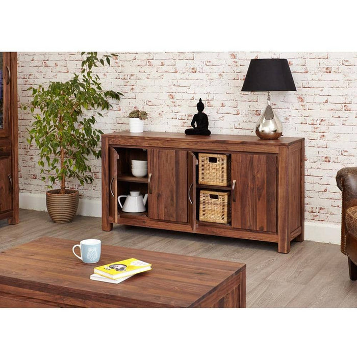 Mayan Walnut Large Low Sideboard - Simply Utopia