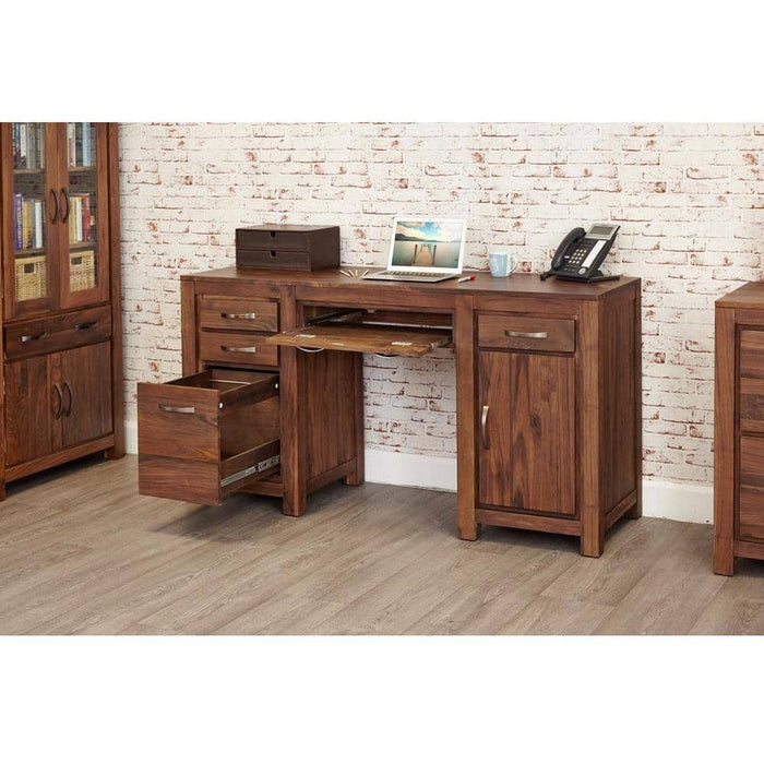 Mayan Walnut Twin Pedestal Computer Desk - Simply Utopia