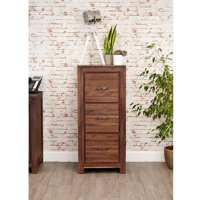 Mayan Walnut 3 Drawer Filing Cabinet - Simply Utopia