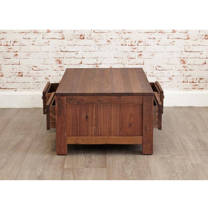 Mayan Walnut Low Four Drawer Coffee Table - Simply Utopia
