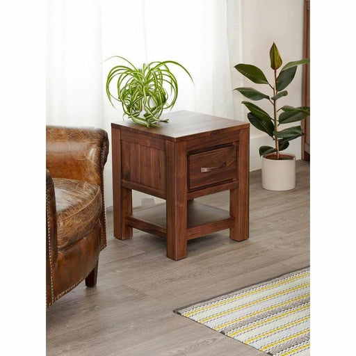 Mayan Walnut One Drawer Lamp Table - Simply Utopia