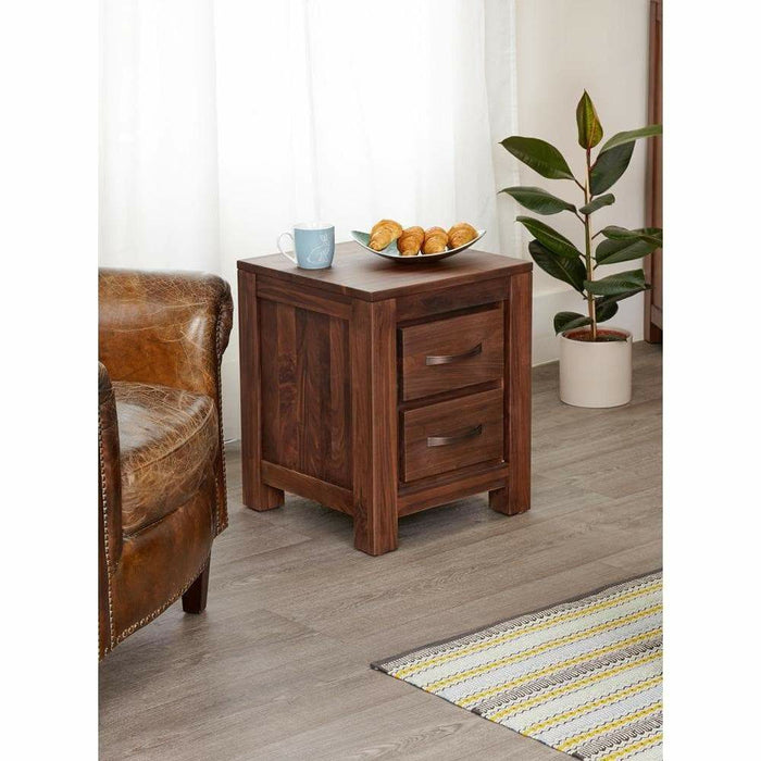 Mayan Walnut Two Drawer Lamp Table - Simply Utopia