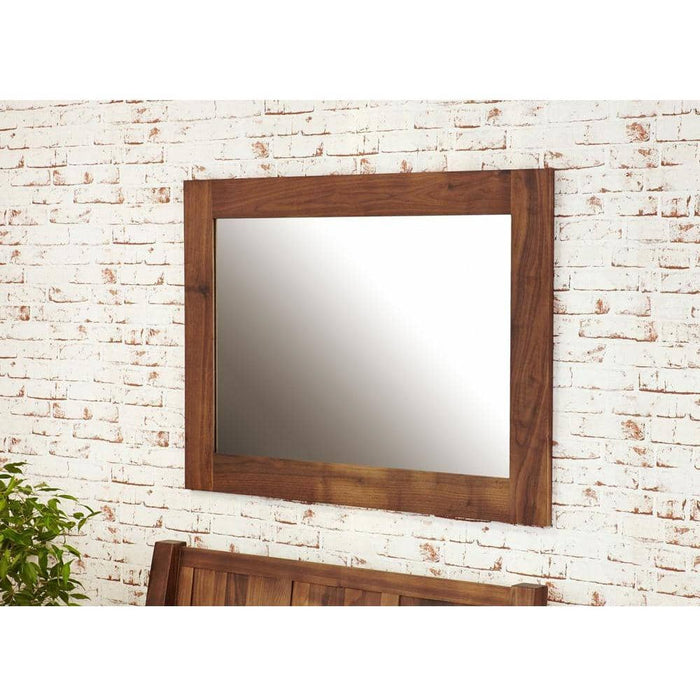 Mayan Solid Walnut Over Mantel Medium Mirror - Simply Utopia